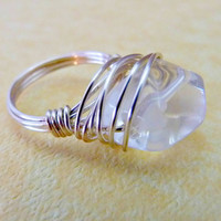 Clear Quartz Nugget Wire Wrapped Ring