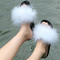 Fur Furry Slide Sweet Ostrich Feather Thick Bottom Beach Female Sandals Hair Flip Flops Women Home Slippers Indoor Soft TR888888