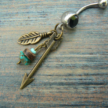 arrow and turquoise belly ring BRASS feathers arrow turquoise in native american tribal boho belly dancer tribal fusion and hipster style
