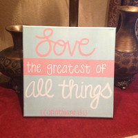 LOVE 1 Cor. 13:13 Hand-Painted Canvas