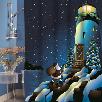Holiday Lighthouse Holiday Fabric Shower Curtain