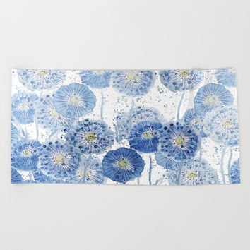 blue indigo dandelion pattern watercolor Beach Towel by Color and Color