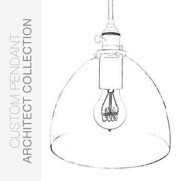 "Custom Design Your 8"" Clear Blown Glass Bare Bulb Pendant Light"