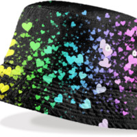 Neon Hearts Bucket HAt 2 created by Christy Leigh | Print All Over Me