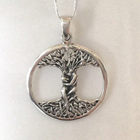 Tree of Life Necklace Sterling Silver Large Tree Celtic Necklace Silver Celtic Necklace Couple Lovers Embrace Pendant Large Tree Pendant