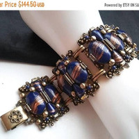 ON SALE Vintage SELRO Blue Rhinestone Stone Collectible Chunky Bracelet - Retro 1950's 1960's- High End Hard To Find Jewelry