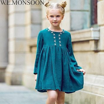 W.L.MONSOON Kids Dresses for Girls Christmas 2017 Brand Princess Dress Autumn Embroidery Baby Girls Dress Children Clothing