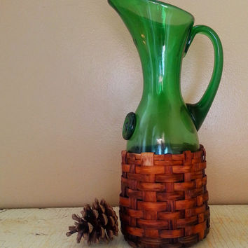 Vintage Basket Wrapped Hand Blown Green Glass Pitcher Wine Pitcher Italian Glass