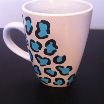 Blue leopard coffee cup, hand painted