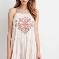 Leaf Embroidery Tiered Dress