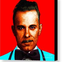 Gangman Style - John Dillinger 13225 - Red - Color Sketch Style Canvas Print