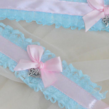 Sky of love set - Pastel blue and pink fairy kei princess choker with charm and wrist cuffs - lolita kitten pet play collar neko girl ddlg