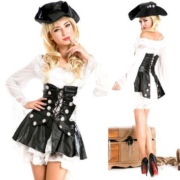 Woman Pirates of The Caribbean Dress King Halloween Cosplay Costumes DS Stage Performance Witch Clothes (hat+dress)