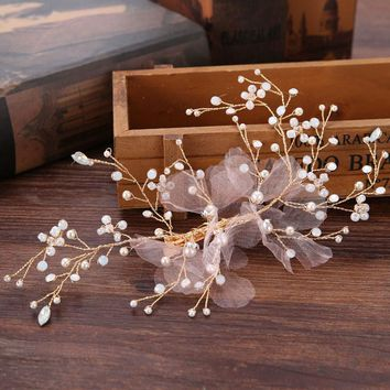 Lace Hairpins Wedding Hair Accessories Bridal Headpiece Flower Hair accessories women Handmade beads bride head piece