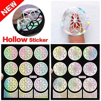 ONETOW 2016 New 1pcs Silver Hollow Vinyls Nail Art Stamp Stamping Stencil Nail Sticker Guide Manicure Nail Tools