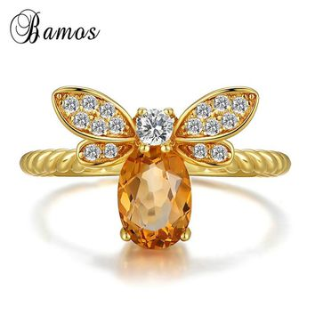 Bamos Luxury Yellow Zircon Adjustable Animal Ring Vintage Gold Color Engagement Rings For Women Cute Bee Jewelry Wedding Band