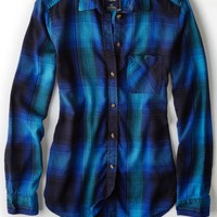 AEO 's Plaid Boyfriend Shirt (Blue)