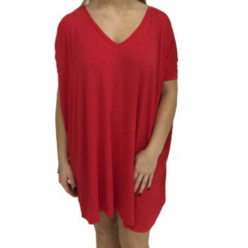 Red Piko Tunic V-Neck Short Sleeve Top