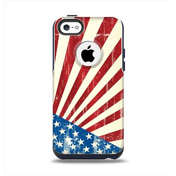 The Vintage Tan American Flag Apple iPhone 5c Otterbox Commuter Case Skin Set