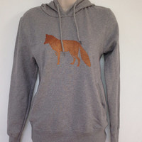 Fox hoodie - light grey - low CO2, organic cotton, fairly traded, hand printed