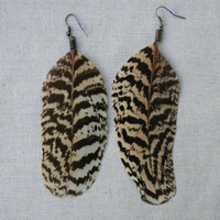 Large Striped Barbed Black,Brown and Cream Peacock Feather Earrings