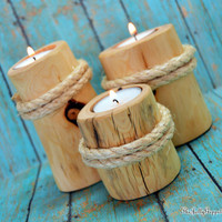 Set of 3 Beach Pier Candle Holders, Light Colored Juniper Wood, Nautical Decor , Home Decor, Beach Wedding, Beach Magic, The Jolly Geppetto