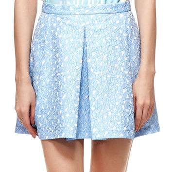 Blue Tile Jacquard Structured Pleats Skirt