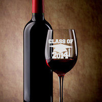 Class of 2014 College Graduation Hand Etched Wine Glass