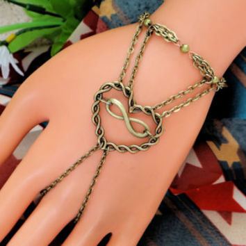 Slave Bracelet Ring,Bronze Bracelet, Hand Chain, Harness, Twisted Heart, Infinity Ring, Body Jewelry, Love
