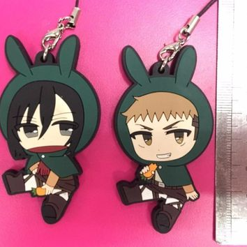 Cool Attack on Titan 2pcs/lot  Anime keychain Krista Lenz Rivaille Eren Armin Sasha Mantra Rubber strap/phone charms AT_90_11