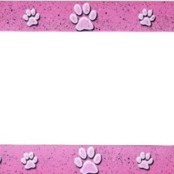 Pink Paws Metal License Plate Frame