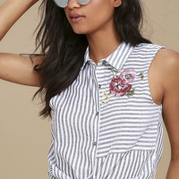 All in a Day's Needlework Grey Striped Embroidered Button-Up Top