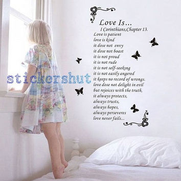love is patient wall decal Love is Kind Religious Inspirational Scripture wall deca