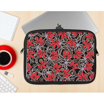 The Red Icon Flowers on Dark Swirl Ink-Fuzed NeoPrene MacBook Laptop Sleeve