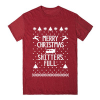 MERRY CHRISTMAS SHITTER'S FULL Xmas HT Unisex Fitted Tee Red