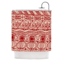"""Catherine Holcombe """"Cranberry and Cream"""" Pattern Shower Curtain"""