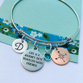 Best Friends Bracelet, Friends  Bracelet, Sister Gift, Life is a journey best traveled with friends Bracelet, Personalized Bracelet, Silver