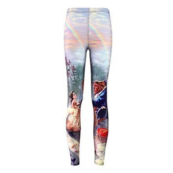Elastic Casual Pants 3D Digital Printing Beauty and the Beast Pattern Women Leggings 7 sizes Fitness Clothing Free Shipping