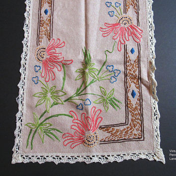 Vintage Embroidered Table Runner, Bohemian Boho Style Folk Art, Floral Embroidery
