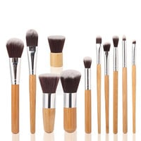 [BIG SALE] on 11 Piece Wood Handle Makeup Brush Set