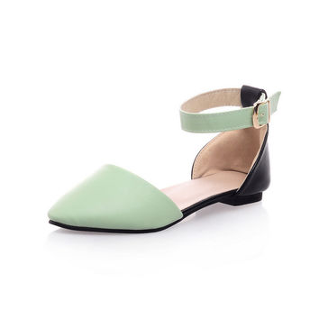 Pointed Toe Flat Belt Plus Size Shoes Sandals = 5825094785