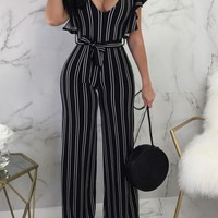 Black Striped Ruffle Sashes High Waisted Office Worker/Daily Elegant Long Jumpsuit