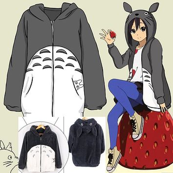 Totoro Hoodie My Neighbor Totoro Sweatshirt Kawaii Coat Cosplay Costume Fleece Overcoat With Ears Harajuku Casual Cute hooodies