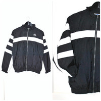 90s ADIDAS windbreaker black + white striped CLUB KID athletic zip up light jacket os