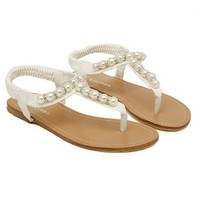 Hee Grand Women T Strap Gladiator Sandals Flat Thong Pearl Beaded Sandals