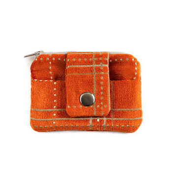 Orange Coin Purse & Card Holder, Soft and Stylish Pocket Wallet, Unique Card Case, Zippered Pouch with Free Shipping