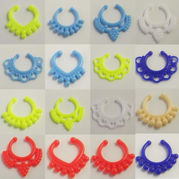 10pcs Mix Acrylic Neon Candy Nose Ring Clip Nose Fake Piercing Clip Stud Punk Goth False Hoop Earrings Septum Limited Edition