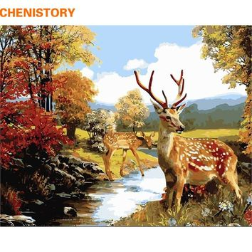 CHENISTORY Deer Animals DIY Painting By Numbers Kits Drawing Painting  Picture On Canvas For Home Decoration Unique Wall Artwork