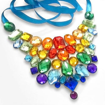 Sparkling Rainbow Rhinestone Statement Bib Necklace, Bold Fashion Jewelry, Bright Colors