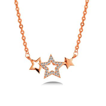 Chic Tiny Crystal Star Choker Necklace Women Party Jewelry Rose/White Gold